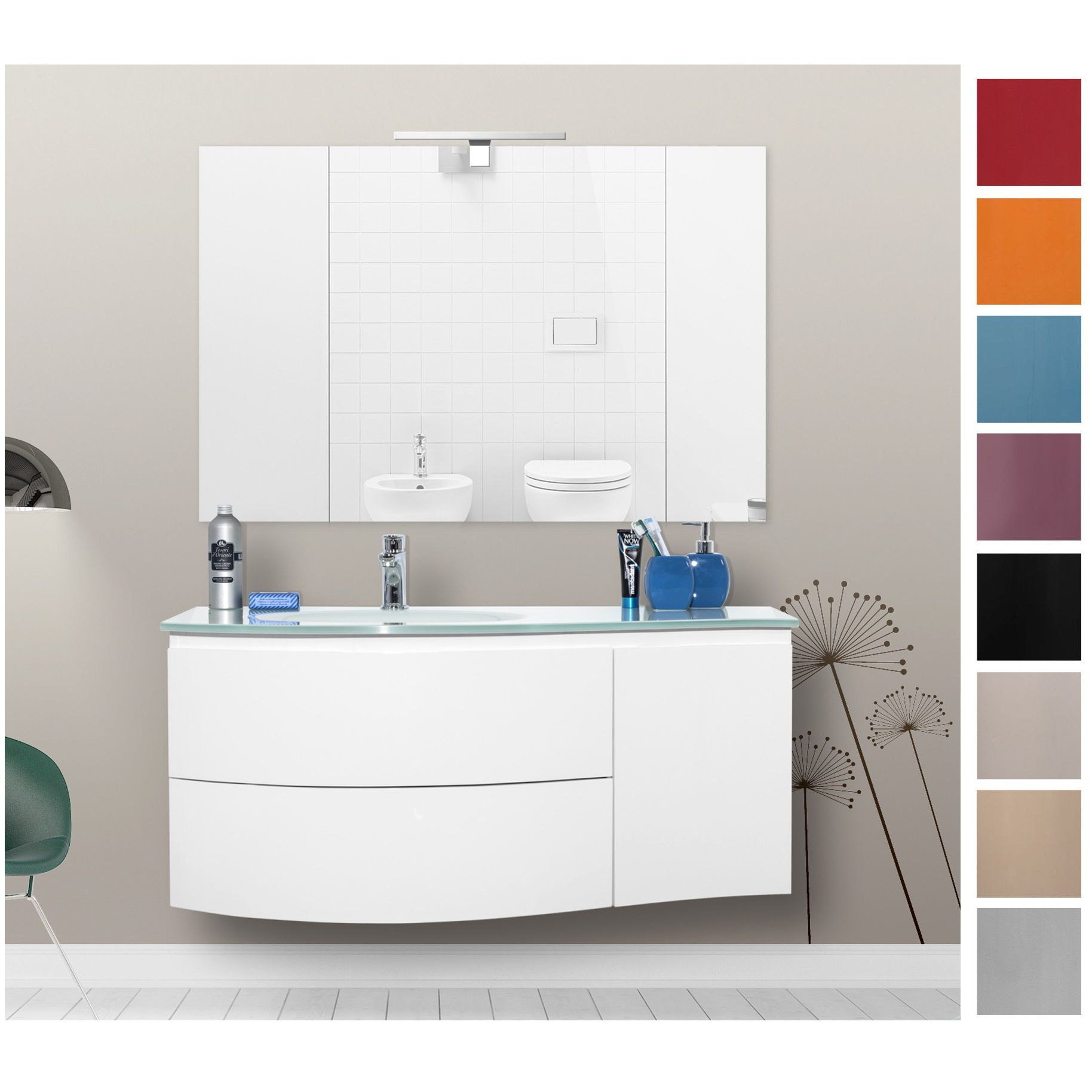 Mobile arredo da bagno 110 cm lavabo in cristallo - Bagno largo 110 cm ...