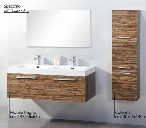 Z arredo bagno bigol rovere con doppio lavabo ceramica offerta for Bagno doppio lavabo offerta