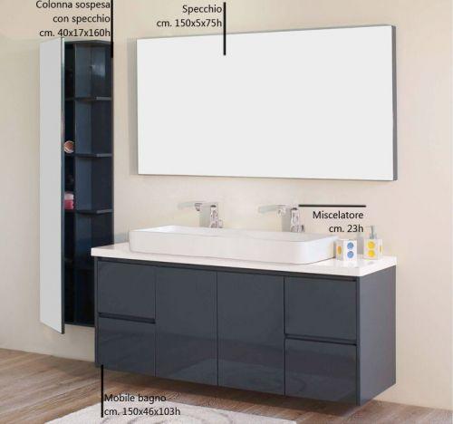 Mobile bagno zeus cm 150 con doppio lavabo d 39 appoggio - Mobile bagno con doppio lavabo ...