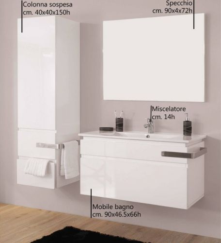 Mobile bagno loira da 90 cm color bianco lucido bz - Mobile bagno da 90 ...