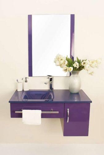 Mobile bagno alfa cm 90 con lavabo in cristallo in tre - Lavabo nero bagno ...