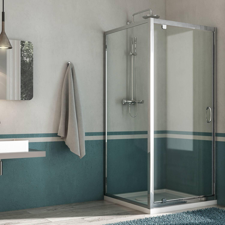 Box doccia anta fissa porta battente con anta unica h185 - Box doccia chiuso sopra ...
