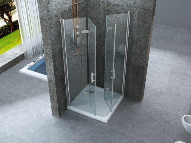 Box doccia doppia apertura angolare a libro h195 cristallo - Porta doccia soffietto ...