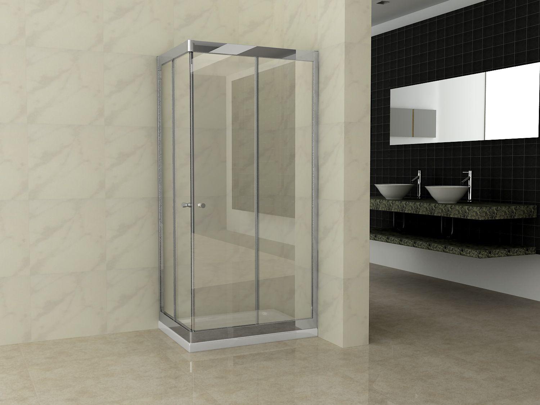 Box doccia cristallo trasparente 6 mm apertura scorrevole ...