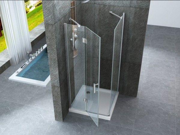 Box doccia in cristallo trasparente 8mm apertura a - Box doccia da esterno ...