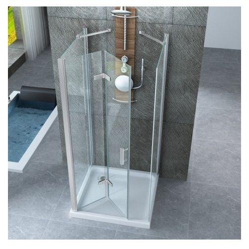 Box doccia 3 lati per centro stanza con porta a libro for Porta a libro bianca con vetro