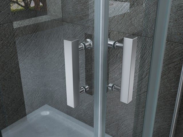 Box doccia doppia apertura angolare a libro h195 cristallo for Porta a libro doppia