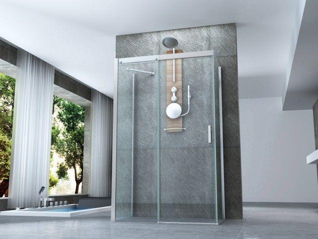 Box doccia 3 lati porta scorrevole cristallo trasparente 8 mm trattamento anticalcare chiusura - Porta in cristallo scorrevole ...