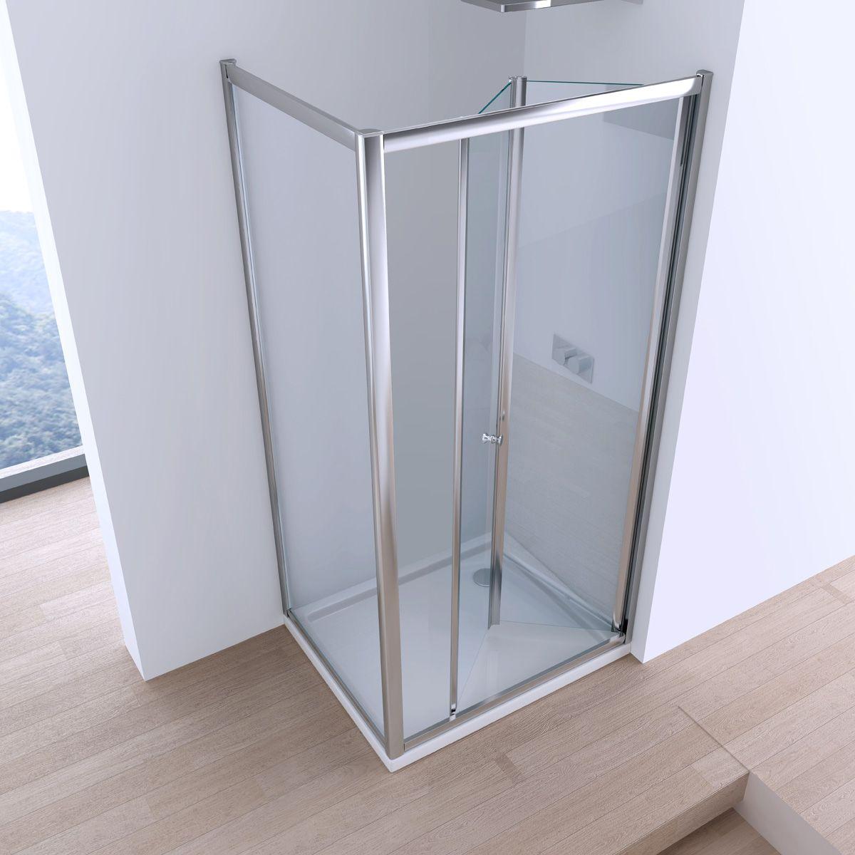 Box doccia con apertura a libro cristallo 6 mm trasparente - Box doccia libro ...