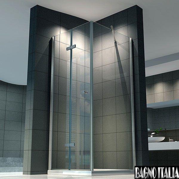 box doccia angolare, vetro trasparente/opaco - bagno italia pa - Bagni Moderni Con Box Doccia