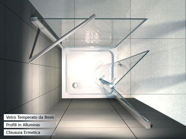 Box doccia apertura a soffietto libro h195 cristallo - Box doccia libro ...