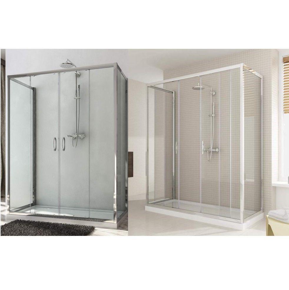 Box doccia 3 lati doppia anta scorrevole h185 o 198 cm for Porta doppia anta