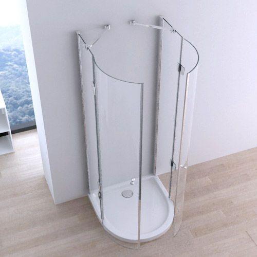 Box doccia semicircolare 90x90 doppia apertura centrale a - Box doccia chiuso sopra ...