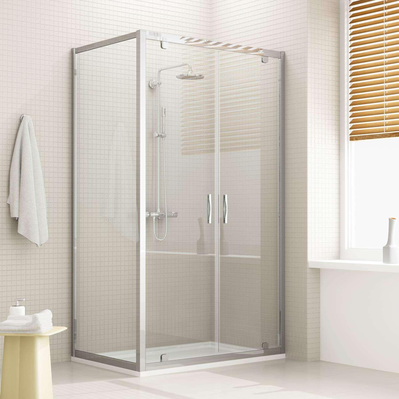 Box doccia doppia anta unica profilo alluminio h185 198 - Porta doccia saloon ...