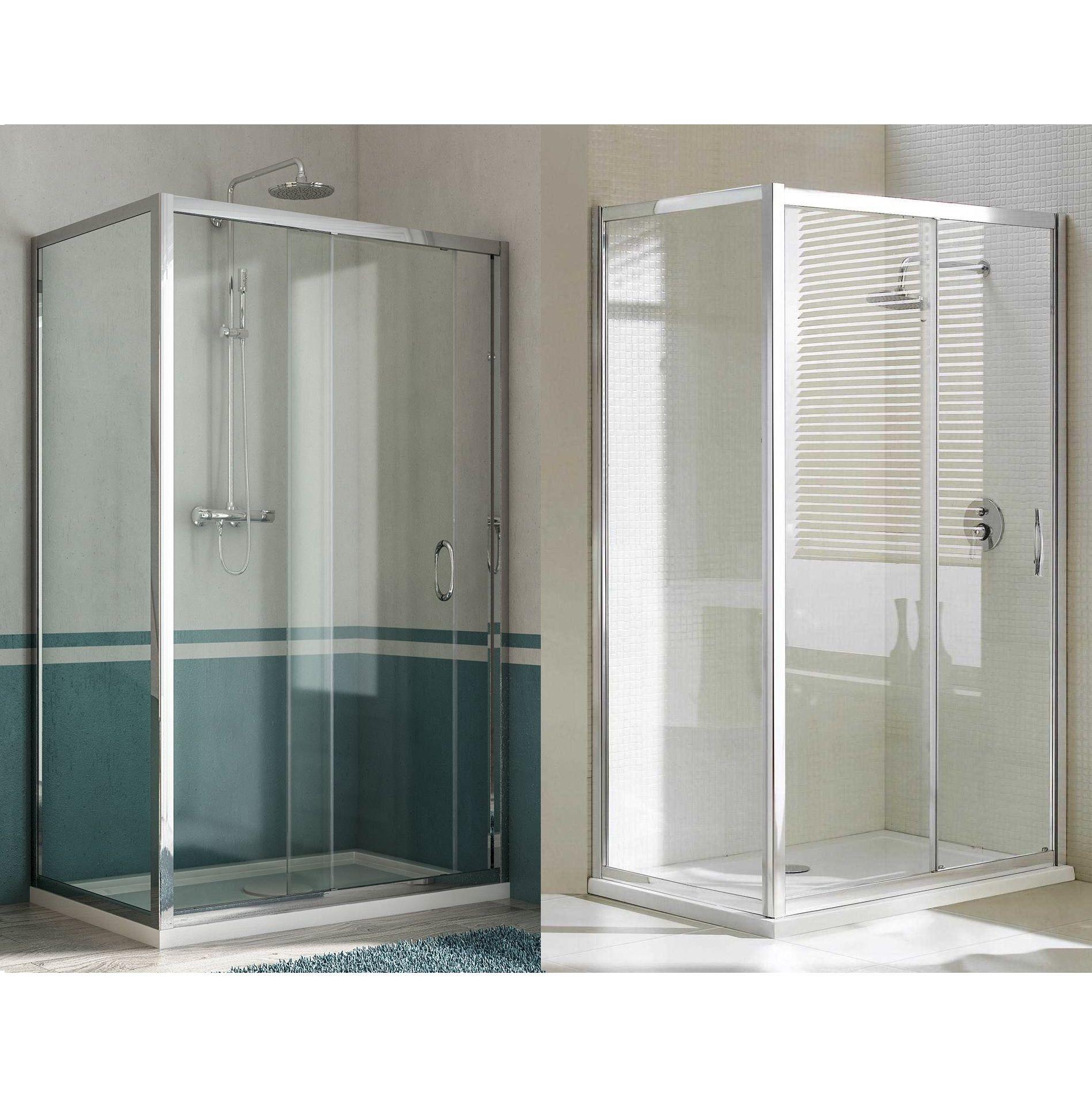 Box doccia porta fissa anta scorrevole h185 198 profilo in - Porta scorrevole cristallo ...