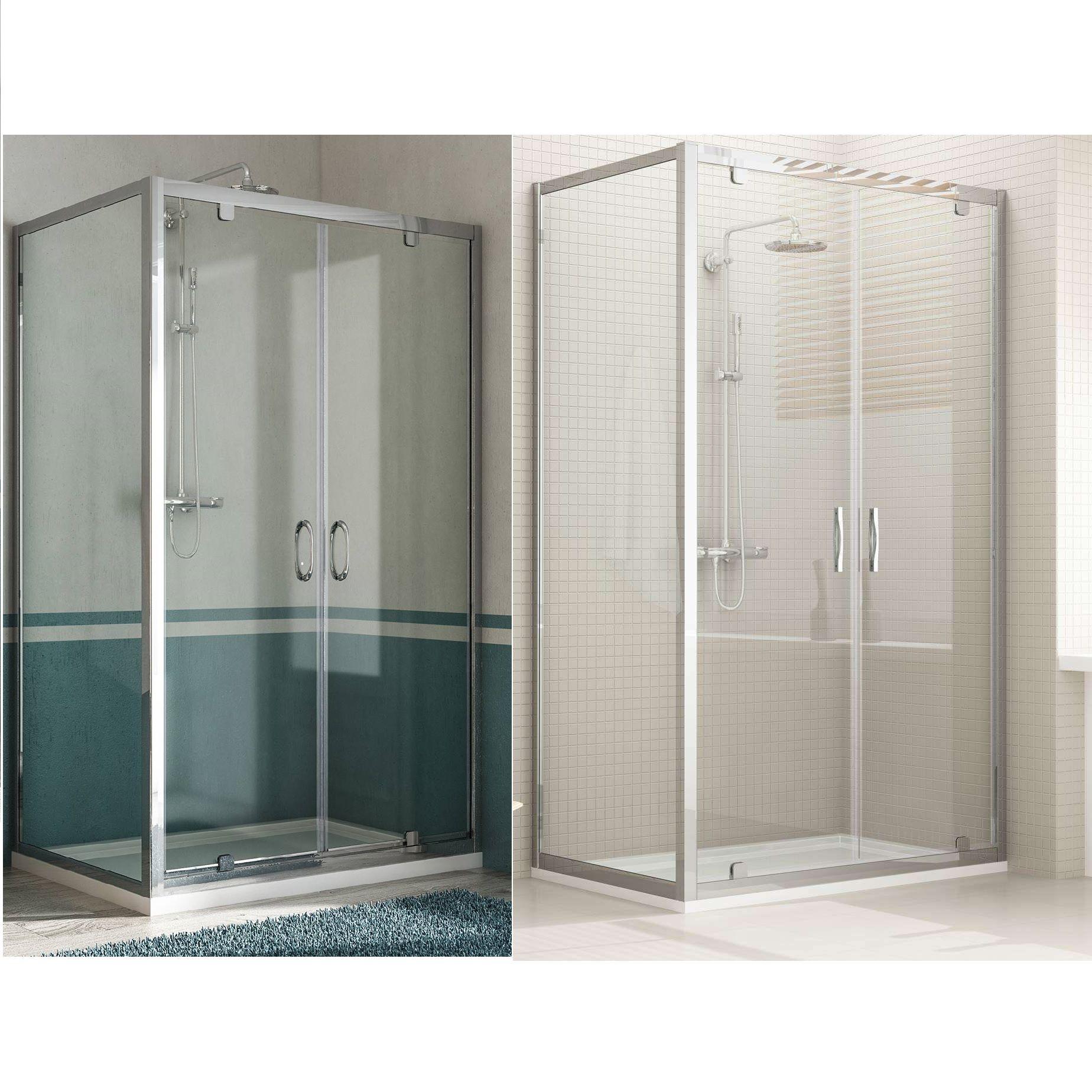 Box doccia doppia anta unica profilo alluminio h185 198 - Doccia senza porta ...
