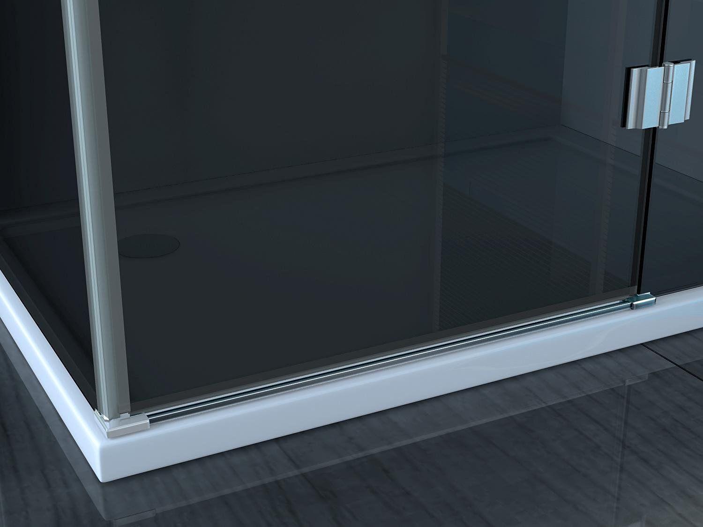 Box doccia angolare 8mm apertura a battente cristallo trasparente ...