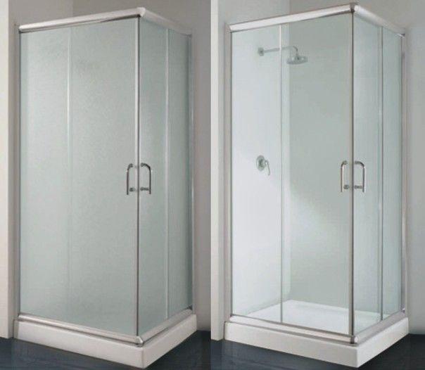 Box doccia angolare trasparente opaco in promo - Vetri per doccia ...
