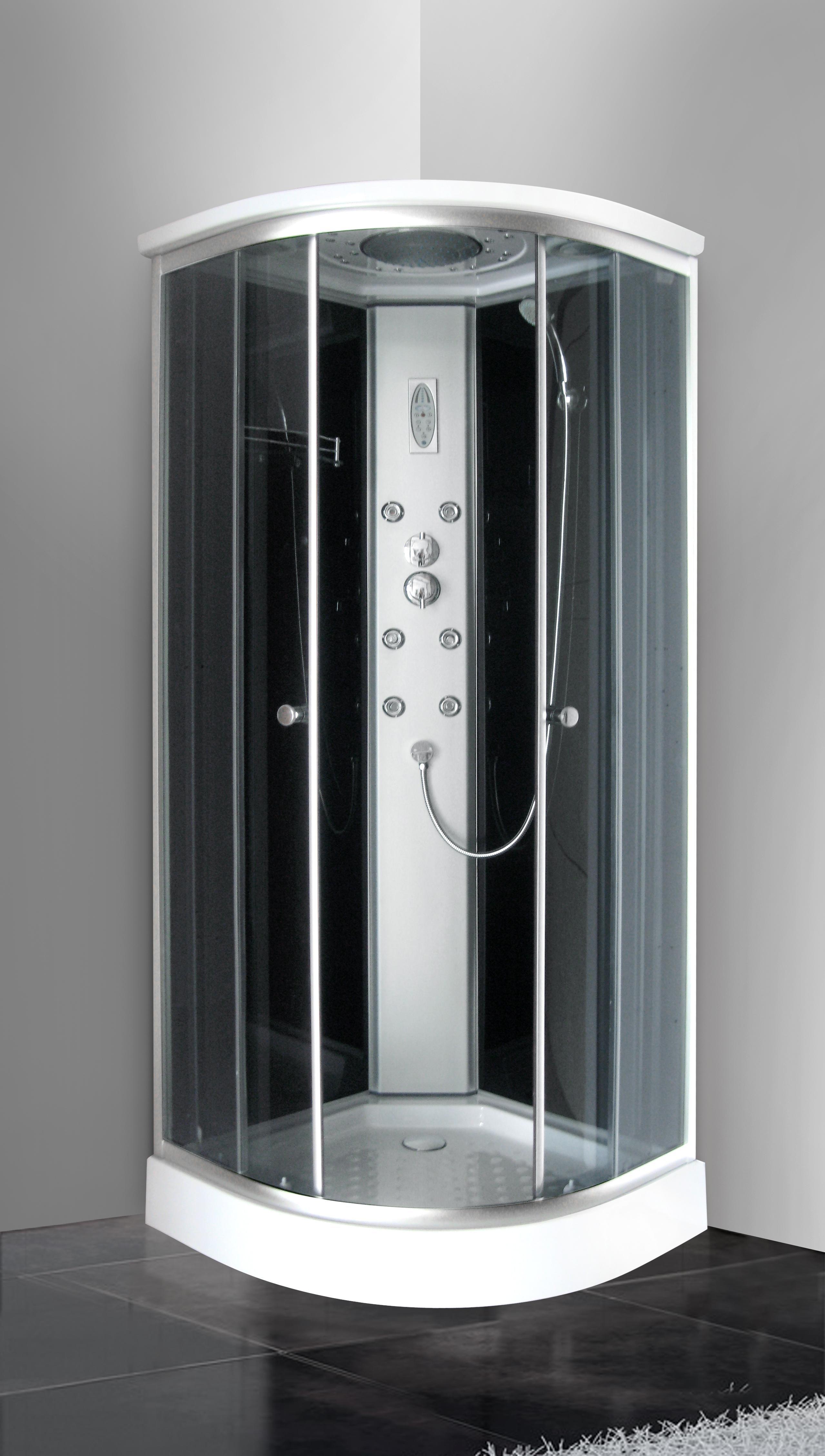 Box doccia idromassaggio angolare 80x80 con cromoterapia for Box doccia con idromassaggio