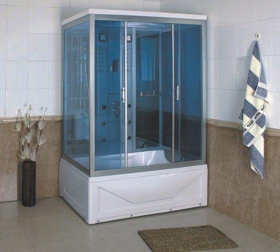 Cabina con colonna idromassaggio 135x85 6 idrogetti cromoterapia bagno turco radio FM