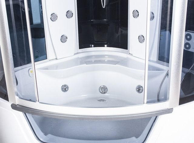 Box doccia idromassaggio 150x150x230h per due persone full for Cabina doccia con vasca
