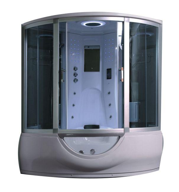 Cabina idromassaggio con vasca 153x153 9 idrogetti full optional bagno turco cromoterapia
