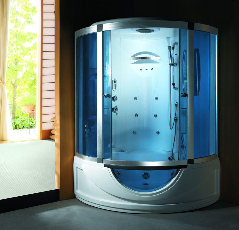 Cabina con vasca idromassaggio 135x135 sauna cromoterapia funzione bluetooth per chiamate - Cabina doccia con vasca ...