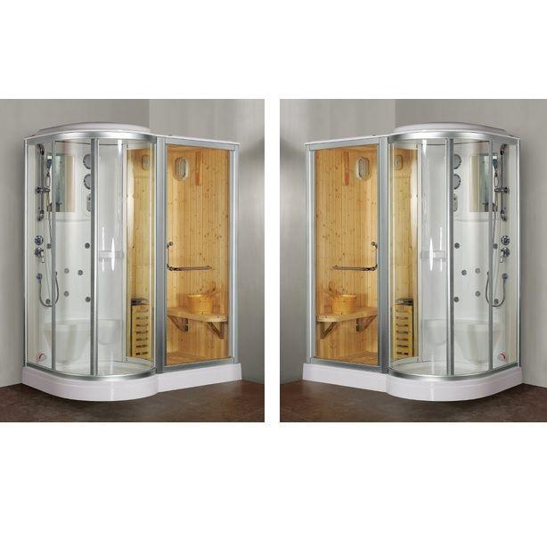 Box doccia idromassaggio 168x95cm con sauna e cromoterapia vi - Effetti sauna e bagno turco ...