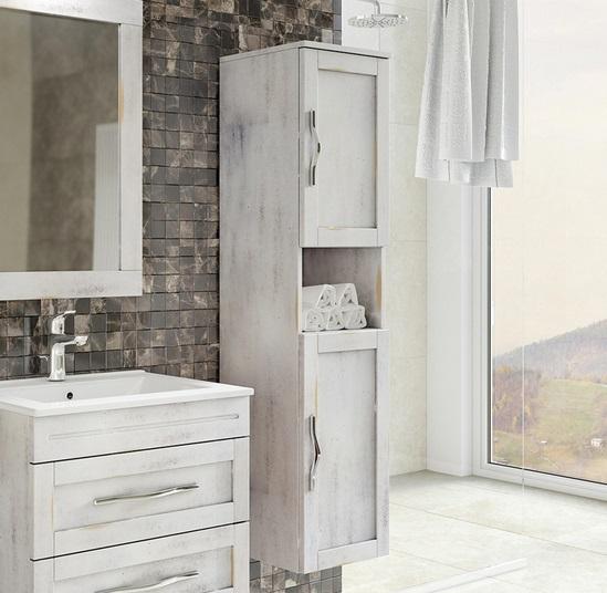 Mobile bagno Violet 80 100 cm arte povera in massello color grigio e ...