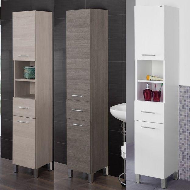 Colonna singola alta 33x180x33 prof o 45x180x33prof rovere o bianca - Mobili a colonna per bagno ...
