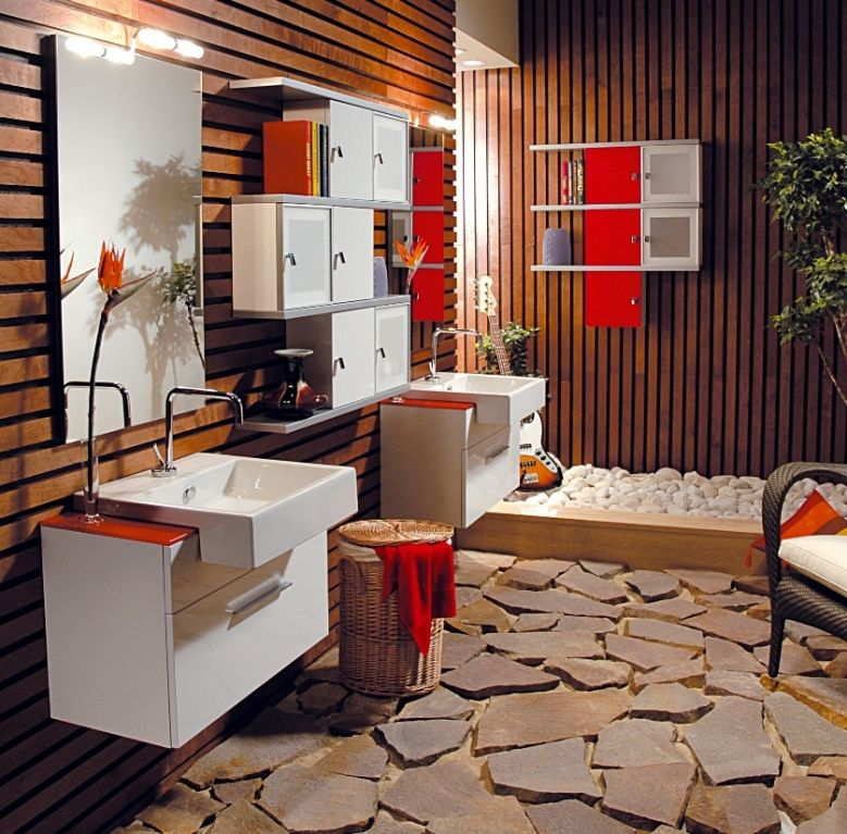 Mobile bagno Cubo sospeso moderno disp. in 3 colori bh
