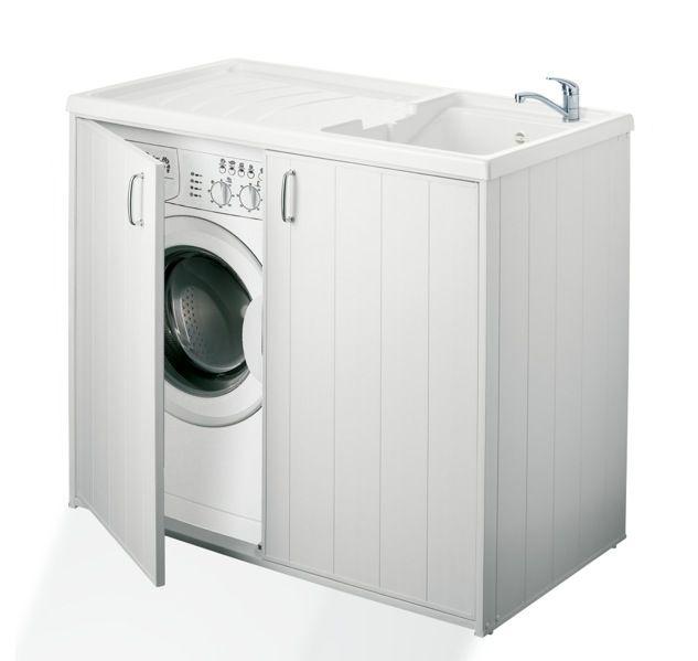 Mobile coprilavatrice in resina 109x60 cm bianco con lavatoio da esterno con doppia anta sm - Copertura lavatrice da esterno ...