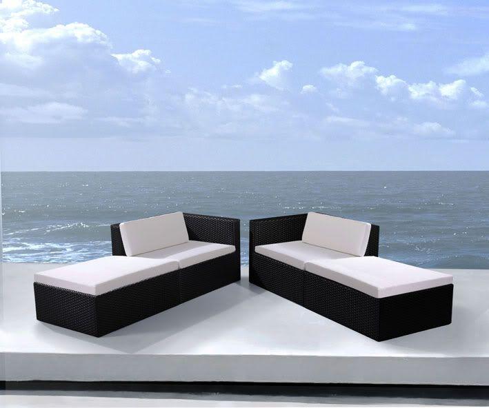 Arredo per esterno con divano letto doppio rettangolare alice 80x90 nero rattan - Letto da esterno ...