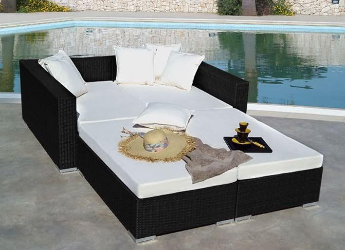 Arredo per esterno con divano letto doppio rettangolare alice 80x90 nero rattan - Divano letto da esterno ...