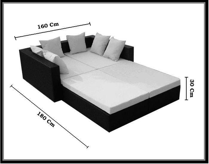 Arredo per esterno con divano letto doppio rettangolare Alice ...