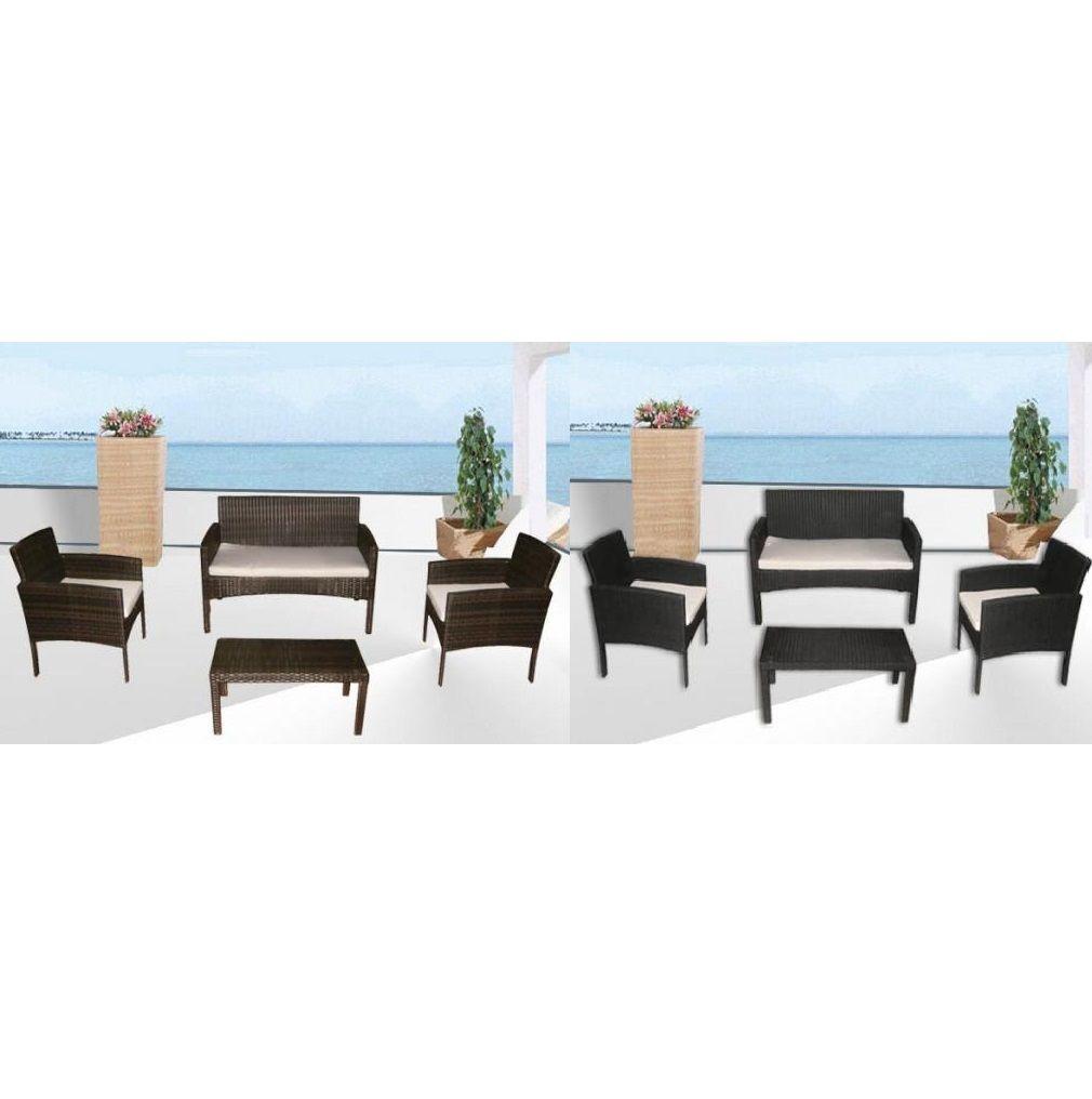Arredi per esterni Amber nero marrone divano 2 poltrone tavolino