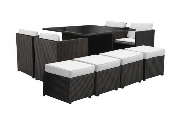 Arredo con tavolo con sedie beth quadrato nero cuscini for Tavolo 12 posti