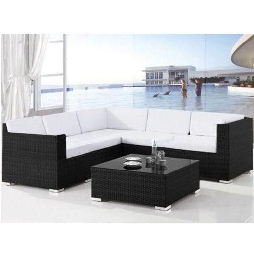Arredo esterno elga 253x83 salotto nero cuscini bianchi - Altezza quadri sopra divano ...