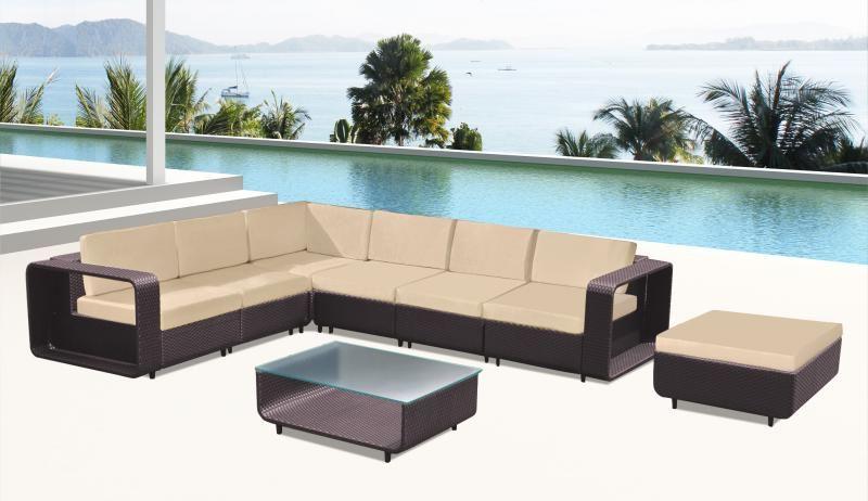 Divano per esterno laura 280x80 nero grigio ad angolo tavolino vetro trasparente - Set divano rattan ...