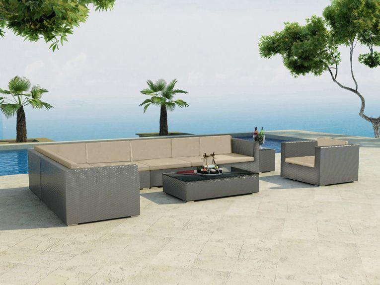 Divano rattan 10 posti grigio poltrona set giardino for Divano 6 metri