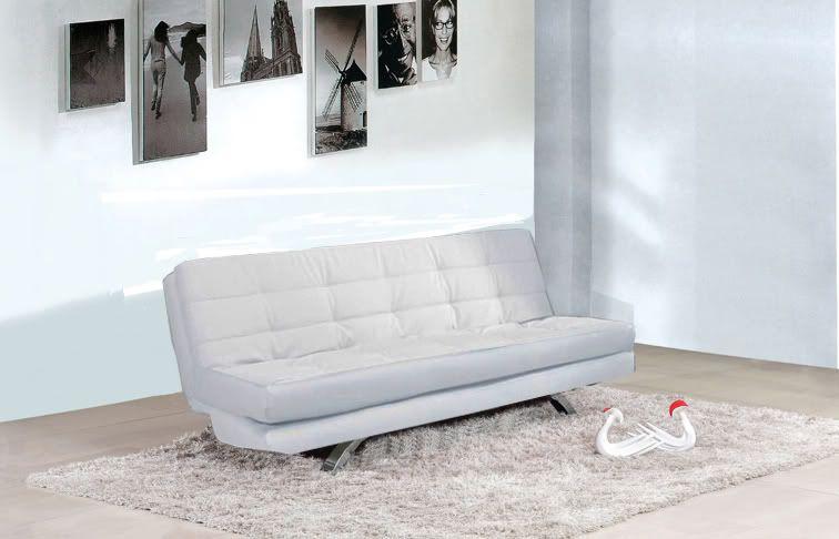 Divano letto eleonora 192x87 bianco nero ecopelle 3 posti - Divano bianco ecopelle ...