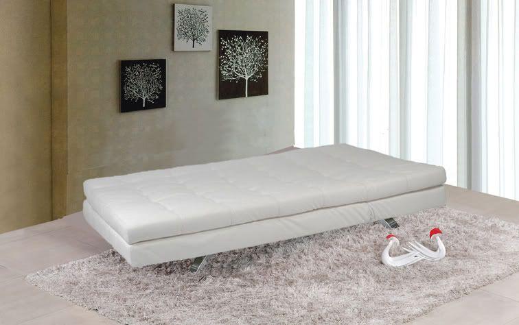 Divano letto eleonora 192x87 bianco nero ecopelle 3 posti for Divano letto bianco