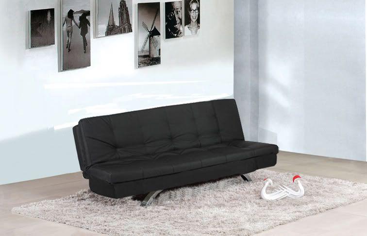 Divano letto eleonora 192x87 bianco nero ecopelle 3 posti
