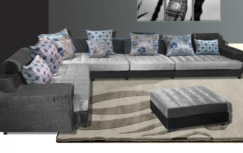 Divano angolare desire 325x250 con pouf centrale in tessuto moderno - Divano angolare grigio ...