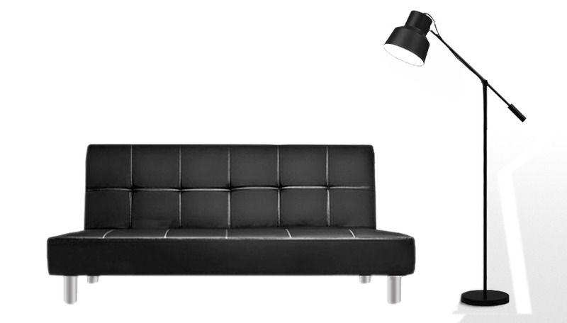 Divano Nero Moderno : Divano letto 3 posti ecopelle nero stile moderno recrinabile da