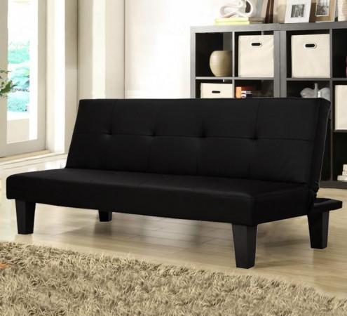 Divano letto luisa 164x95 o 164x75 design moderno microfibra bianco nero anti ribaltamento - Divano ecopelle nero ...