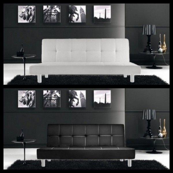 Divano letto in ecopelle claudia bianco o nero moderno con for Divano letto bianco