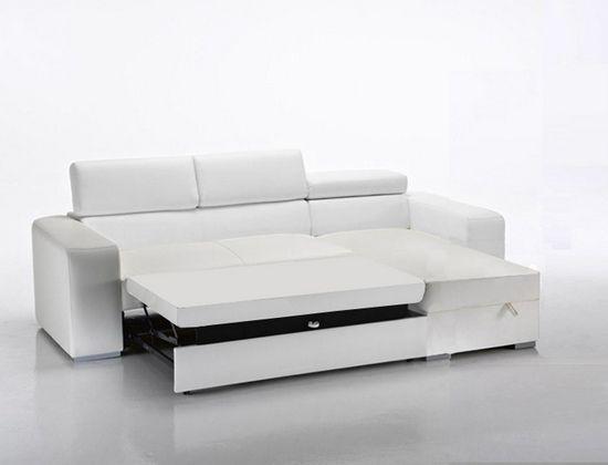 Divano letto in ecopelle rosa moderno bianco con vano contenitore e poggiatesta - Divano letto angolare divani e divani ...