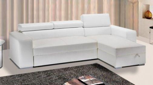 Divano letto in ecopelle rosa moderno bianco con vano contenitore e poggiatesta - Divano bianco ecopelle ...