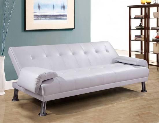 Divano letto sibilla 194x110x40 in ecopelle bianco o nero for Divano letto bianco